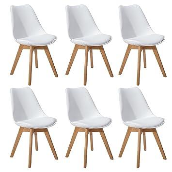 DORAFAIR Pack de 6 Retro sillas de Comedor Silla escandinava,Tulip Comedor/Silla de Oficina con Las piernas de Madera de Roble Maciza,Blanco