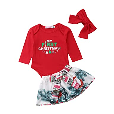 60cea749635 Image Unavailable. Image not available for. Color  My First Christmas Outfit  Toddler Newborn Baby Girls Xmas Romper+Bowknot Santa ...