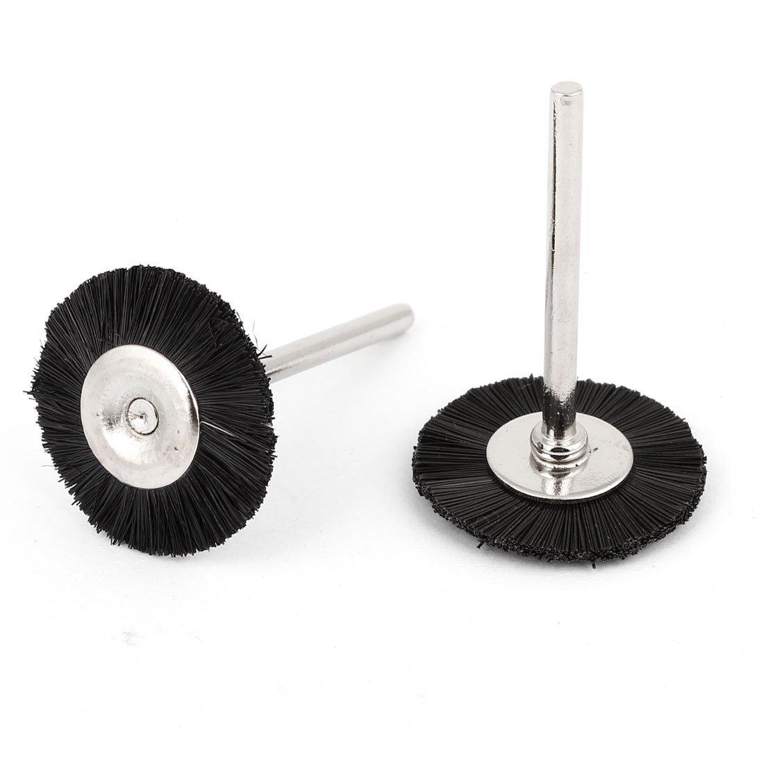 2 Pcs 25mm Dia Noir brosse en nylon roue de polissage pour outil rotatif