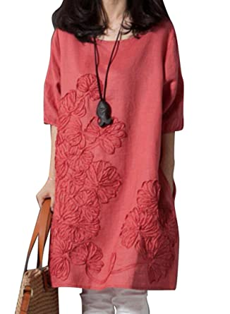 8337205bad69 Oberora-Women Summer Short Sleeve Embroidery Linen Loose A-Line Midi Dress  10 XS