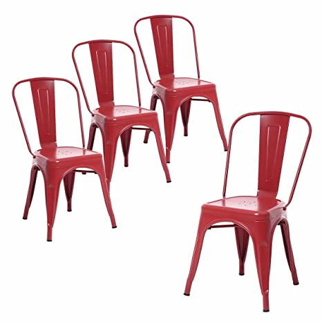 Swell Buschman Set Of Four Matte Red Metal Indoor Outdoor Stackable Chairs With Back Gmtry Best Dining Table And Chair Ideas Images Gmtryco