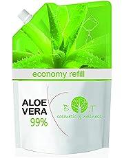 Gel di Aloe Vera Fresca 99% RICARICA 500 g. Doposole, Antibatterico, Antisettico, Idratante, Dopobarba. Aiuta in caso di Prurito del Cuoio Capelluto, Forfora, Acne, Cicatrici, Pelle Secca