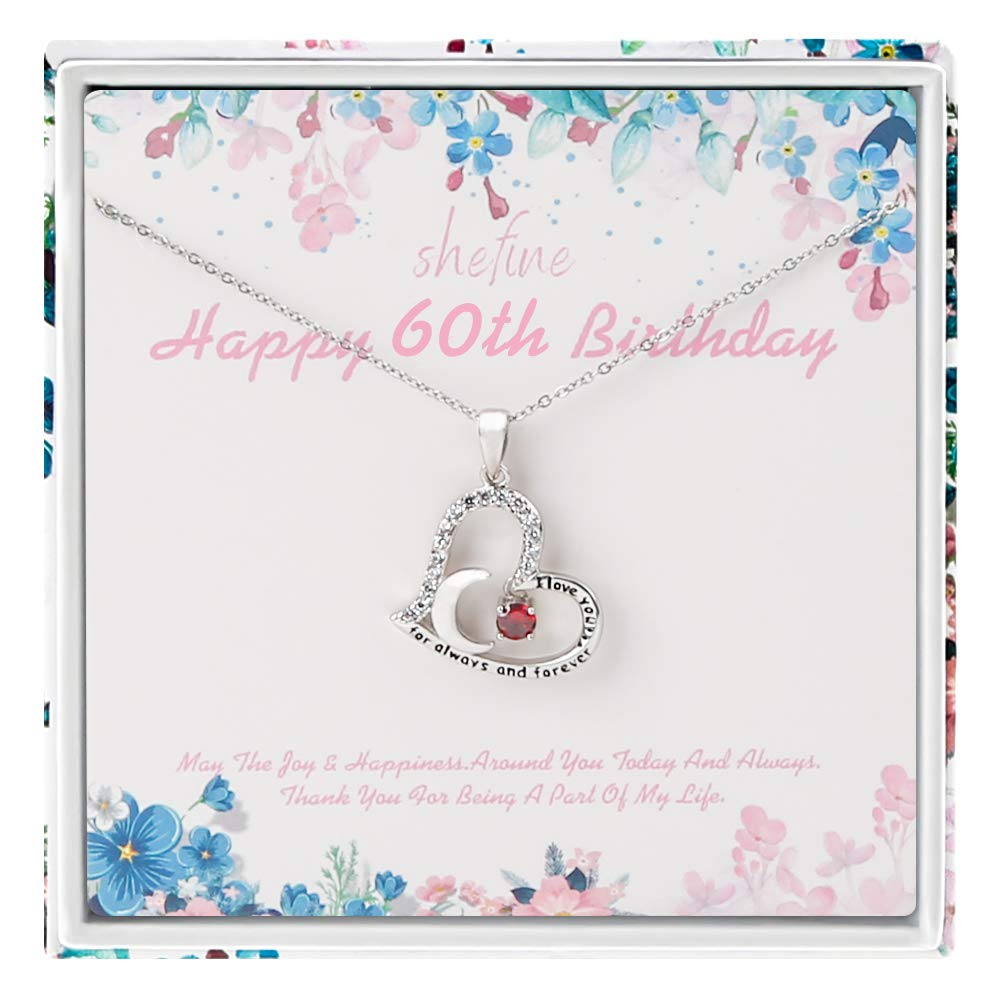 60 Year Old Birthday Gifts for Women 60th Birthday Gifts for Women Funny 60th Birthday Gifts for Women Stainless Steel Womens Dark Red Zircon Heart Necklace