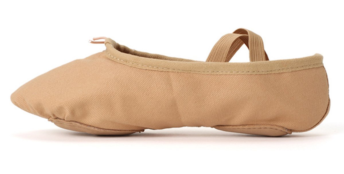 STELLE Clearance Canvas Girls Ballet Shoes Slippers for Kids (9M Toddler, Brown) by STELLE