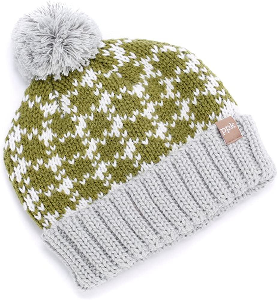 Peppercorn Kids Boys Plaid Pompom Beanie-Olive//Grey-XL 6-12y