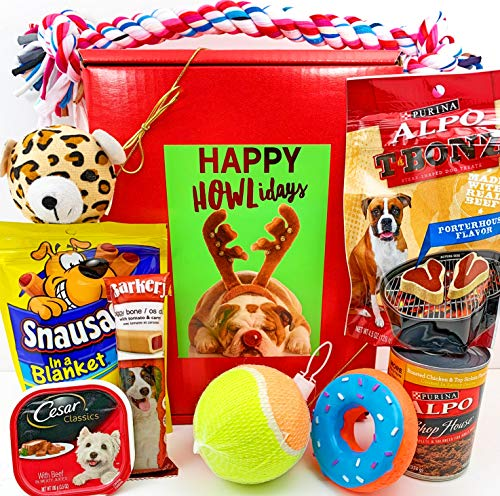 (Christmas Dog Gift Box Basket Prime for A Favorite Canine/Fur Baby - Send These Happy Holiday Season Greeting Treats and Toys to a Furry Pet Friend!)