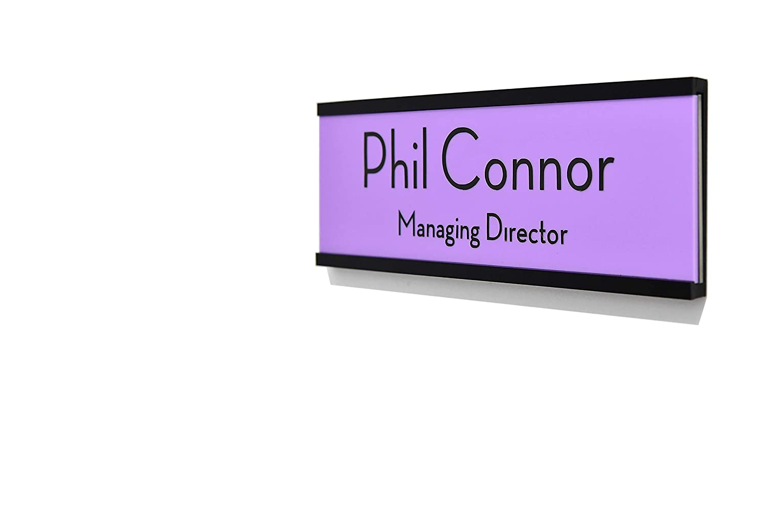 Style 3 Door Name Sign White Acrylic Slide Plate- Custom Wall Mounted Name Label Business Office Sign Office Door Name Plate