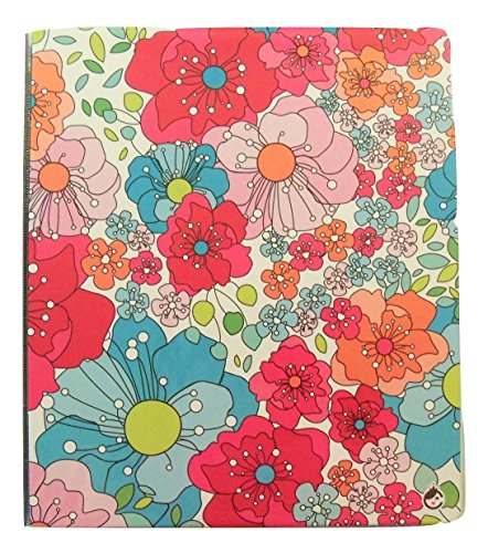 "Carolina Pad Studio C 1"" O-Ring Vinyl Binder with Pockets ~ Sugarland (Leafy Flower Heads; 10"" x 11. 5""; View Front Window)"
