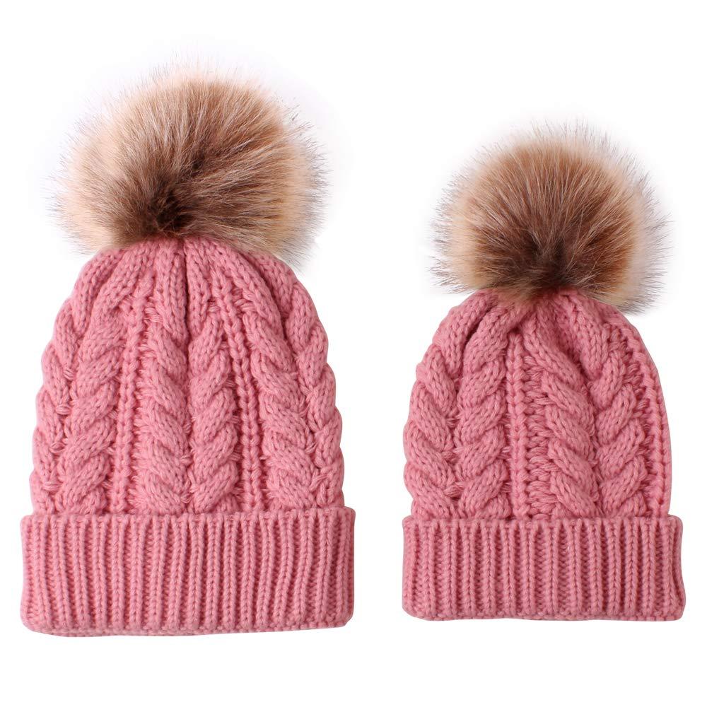 Gajaous Mom and Baby Winter Hat Set Parent Child Beanie Hat Family Matching Faux Fur Pompom Bobble Ski SKU Cap