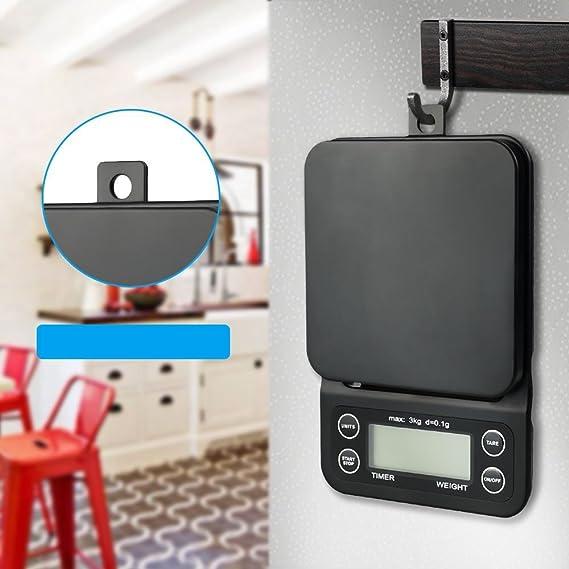 Anpress - Báscula digital de café con temporizador, 3000 g, 0,1 g, báscula eléctrica para cocina, báscula de alimentos, multifuncional, báscula profesional ...