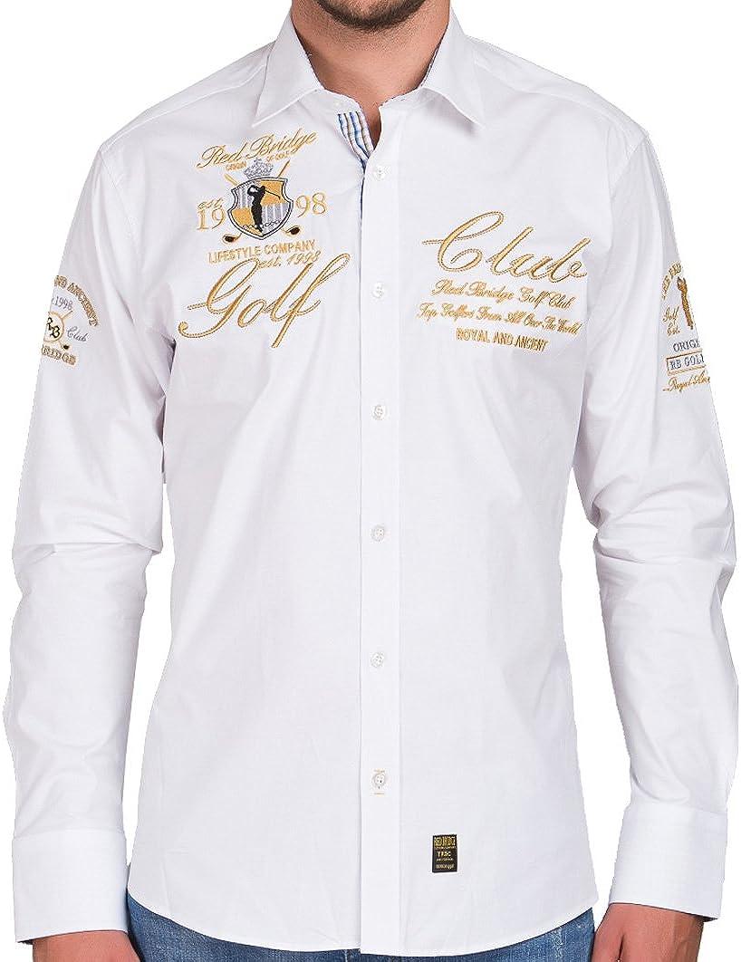 Redbridge RBC by Cipo & Baxx - Camisa para hombre, corte regular con bordado, sin planchado Blanco XL: Amazon.es: Ropa y accesorios