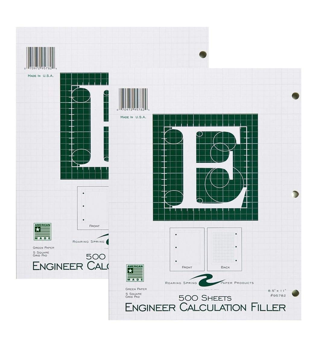 Roaring Spring Engineering Filler, 8.5 x 11 Inches, Green, 500 Sheets, 2-Pack (2)