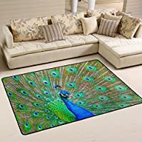 LAVOVO Peacock Feathers Area Rug Rugs Non-Slip Floor Mat Doormats for Living Room Bedroom 72 x 48 inches