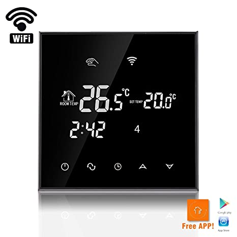 ForHe Wi-Fi Programmable Touchscreen Thermostat with LCD Display 240V 12/16A, Black