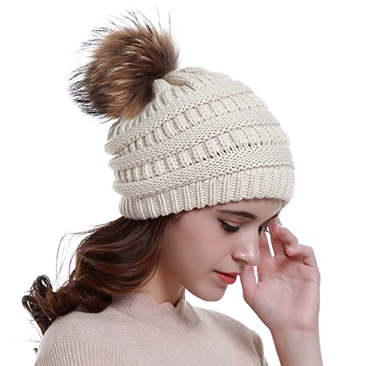 Lvaiz Womens Winter Knit Slouchy Beanie Hats Oversized Chunky Faux ... 04a6ed4cd43