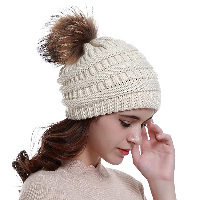 de9627a63 Lvaiz Womens Winter Knit Slouchy Beanie Hats Oversized Chunky Faux Fur Pom  Pom Hat Bobble Hat Ski Cap for Girls