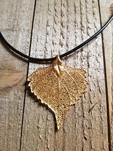 Real 24k Gold Dipped Cottonwood Leaf Black Leather Necklace Pendant Outdoor Rustic Nature Earth - Cottonwood Gold Leaf 24k