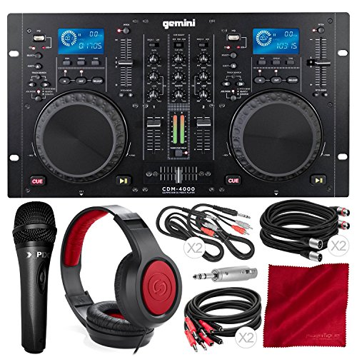 Gemini CDM Series CDM-4000 Professional Audio CD/MP3/USB DJ Media Player Console with Xpix Condenser Microphone, Samson Closed-Back Headphones, and Deluxe ()