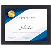 Langdons Diploma Frame (1 Pack, Black) 8.5 x 11 Certificate Frame, Wall Mount Hooks Included with Black Picture Frames…