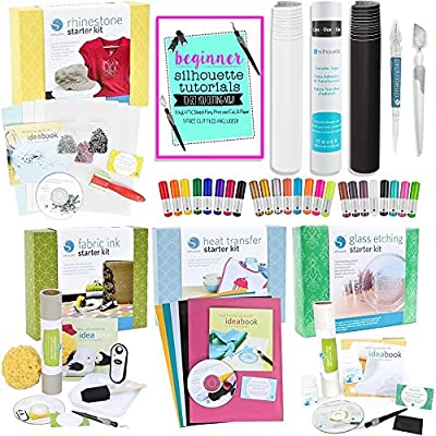 Silhouette Cameo Starter Kit Bundle with 4 Kits, 24 Sketch Pens and 5 Starter Project Guide