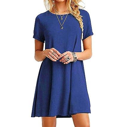 FEITONG Mujer Suelto Casual Cuello redondo Mangas cortas Volantes Mini vestido (Azul, XL)