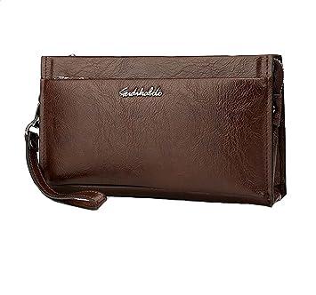 Online kaufen 3df0a 6cce8 Zeafin Herren kleine Tasche Handgelenktasche Organizer Reisebrieftasche  Herren-handtasche Herrentasche aus hochwertigem Leder Vintage Braun