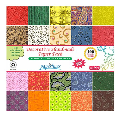 Paperhues Decorative Scrapbook Papers 6×6 Pack, 100 Sheets, Assorted Colors. Forever Collection. Specialty Handmade Origami Papers for Valentines Day…