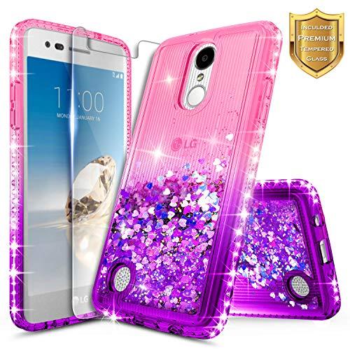 LG K20 Plus Case, LG K20 V/Harmony / K10 2017 / Grace LTE w/[Tempered Glass Screen Protector], NageBee Glitter Liquid Quicksand Waterfall Flowing Sparkle Bling Diamond Girls Cute Case -Pink/Purple