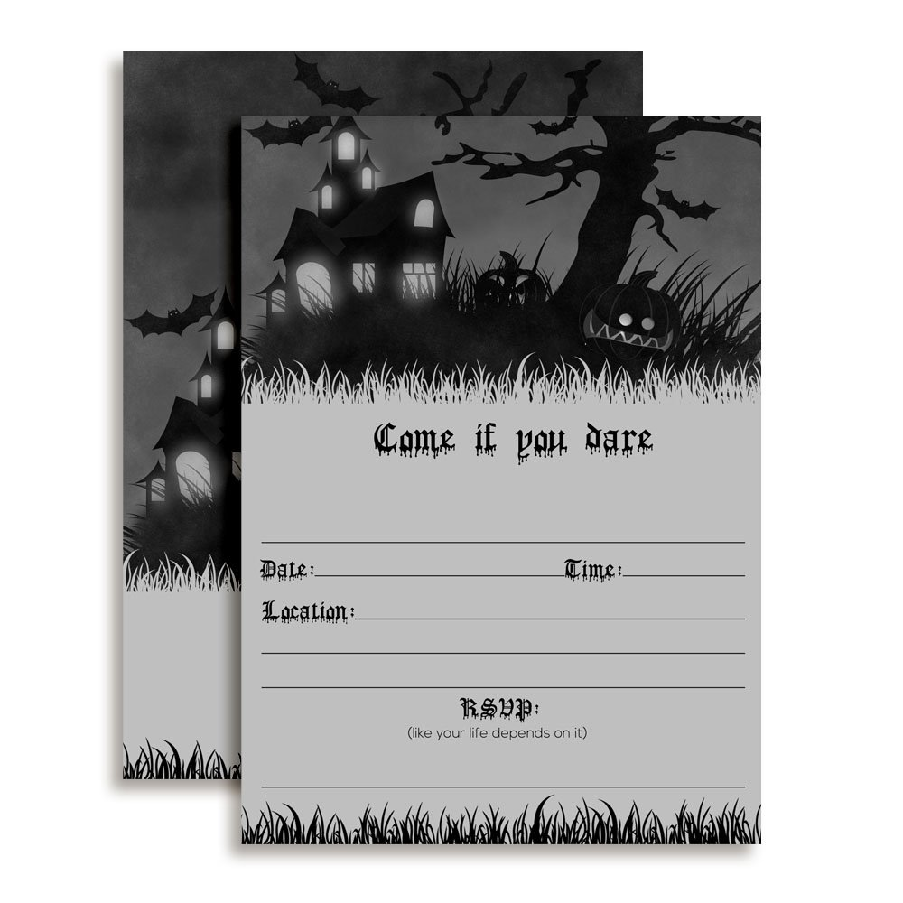 Come if You Dare Haunted House Halloween Party Invitations 20 5x7 Fill in Cards with Twenty White Envelopes by AmandaCreation