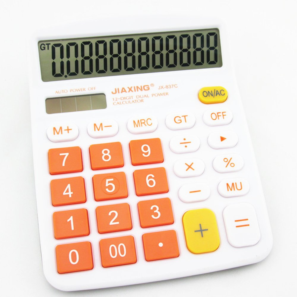 GardenHelper 12 Digits Colorful Large Button LCD Display Desktop Calculator for Office Home School, Solar & Battery Dual Powered Standard Electronic Calculator (Orange) by GardenHelper (Image #1)