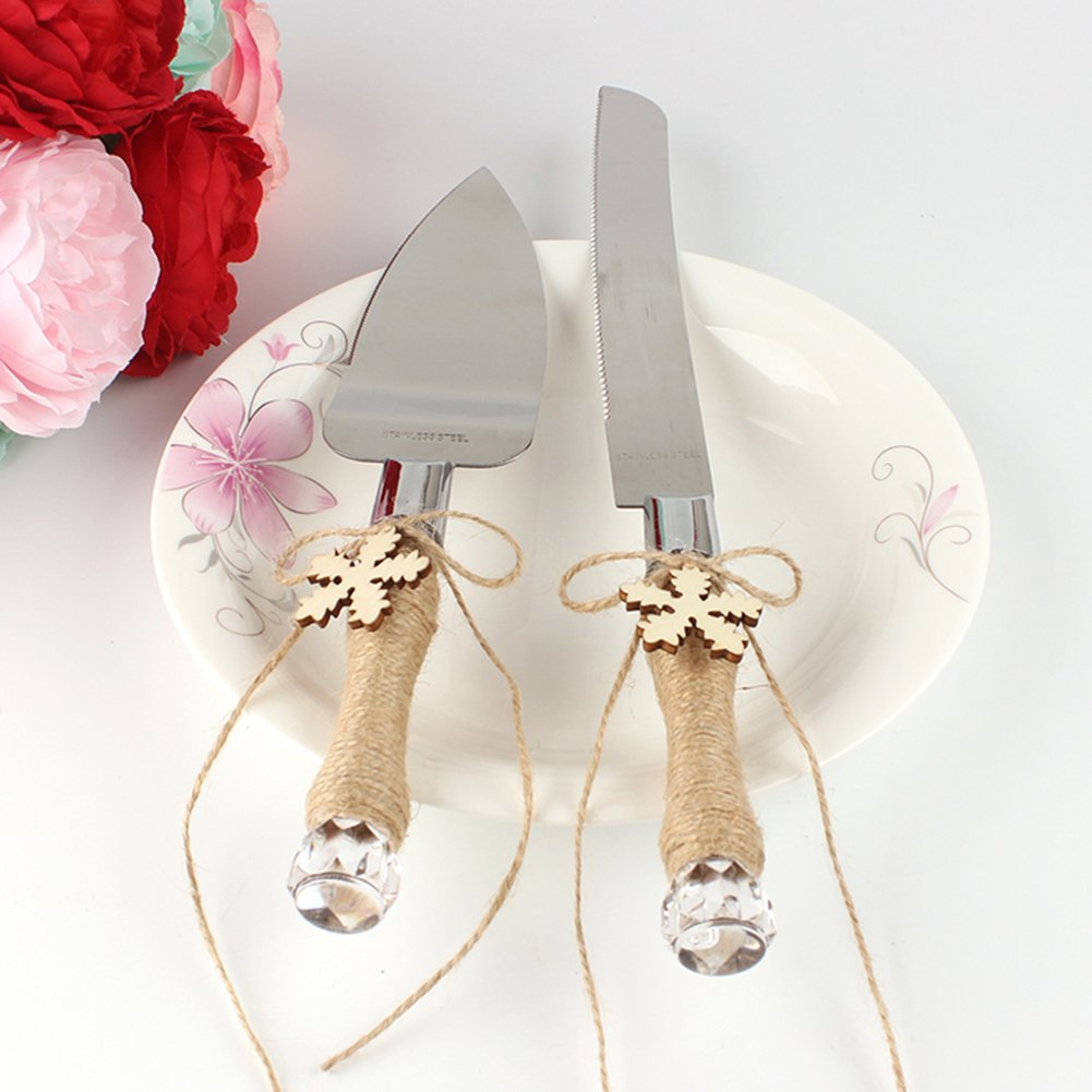 Zehui Stainless Steel Server Set, Cake Knife & Shovel with Hemp Rope and Wood Pendant for Wedding/Christmas/Party,Snowflake