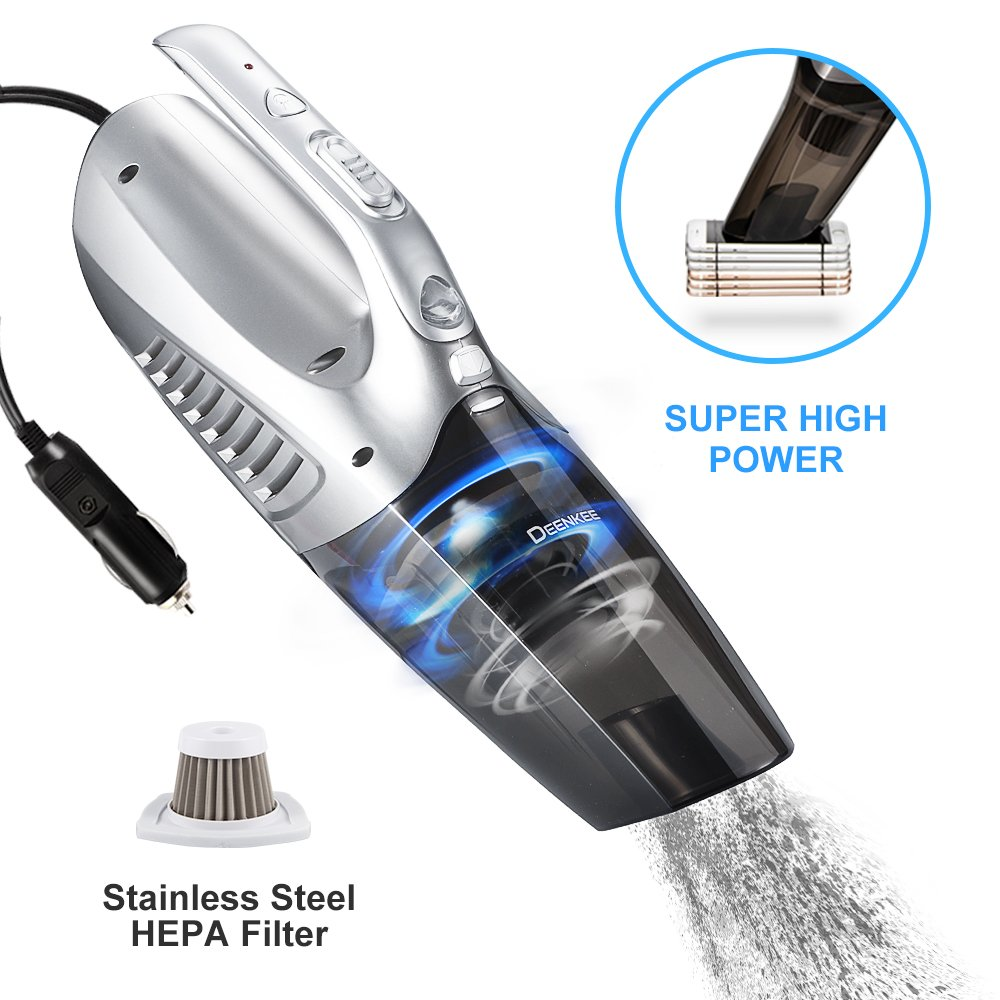 DEENKEE Car Vacuum Cleaner, 12V 5KPa Super High Power Suction Car Vacuum with 16.4ft Cable, Plugs into Lighter for Wet Dry/Dog Hair