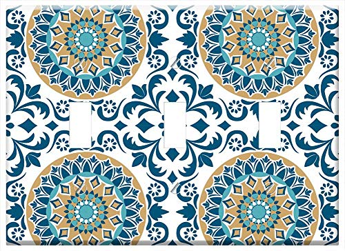 - Switch Plate Triple Toggle - Tile Vintage Pattern Design Decorative Retro Wall