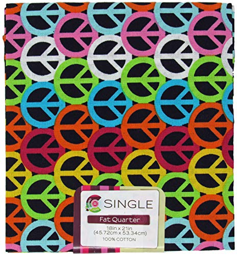 (Peace Sign Onyx Fat Quarter Multi Neon Colored Peace Signs on Black Background 18