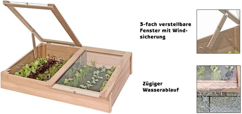 Semillero, cajonera para cultivo de madera de alerce, mini invernadero (119 x 80 x 30 cm de Gartenpirat®: Amazon.es: Jardín