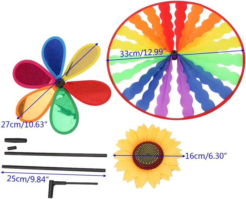 xnbnsj Portable Circles Sunflower Rainbow Windmills Whirligig Wheel Colored Spinner For Garden Camping