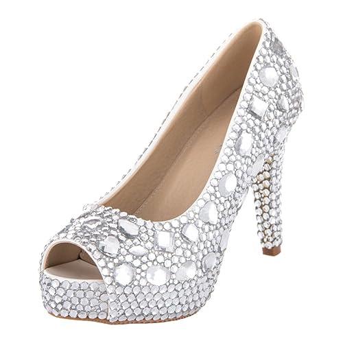 VELCANS Sandalias de Diamantes de Imitación Peep Toe Tacón y Plataforma Pare Boda, Novia,