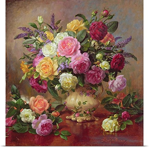 GREATBIGCANVAS Entitled Roses from a Victorian Garden Oil on Canvas Poster Print, 34