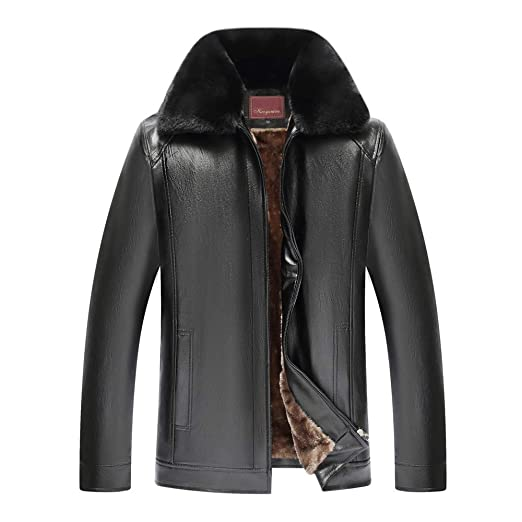 f16e02ca3bce7 Men s Winter Spread Collar Sherpa Lined Suede Leather Trucker Jacket Coats