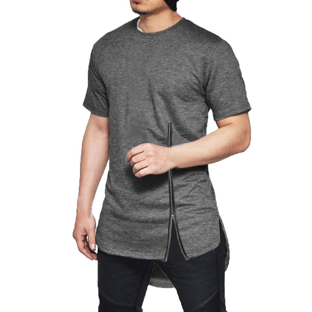 POQOQ T-Shirt Blouse Top Men New Chest Zipper Short Sleeves Cotton Side Split