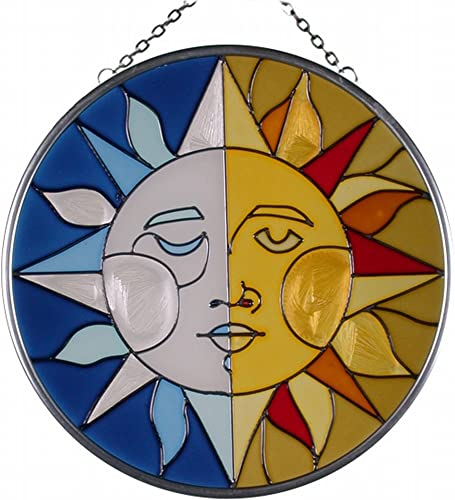 Keegan s Korner 7 Round Sun Moon Hand Painted Art Glass Suncatcher
