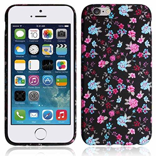 Fleur rose–Noir pour Apple iPhone 6G 11,9cm 11,9cm 4.7Coque en gel TPU Housse Etui Coque Imprimé–Partie de 3,5Ranger Téléphone portable Accessoires