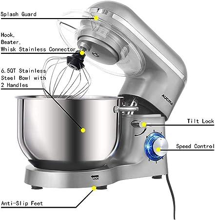Aucma Robot de Cocina (1400 W, con Bol de Acero Inoxidable de 6, 2 L, amasador, batidor, Varillas y protección para Salpicaduras, 6 velocidades, silencioso): Amazon.es
