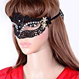 Lady Masquerade Party Soft Sexy Lace Eye Mask with White Rhinestone, Black