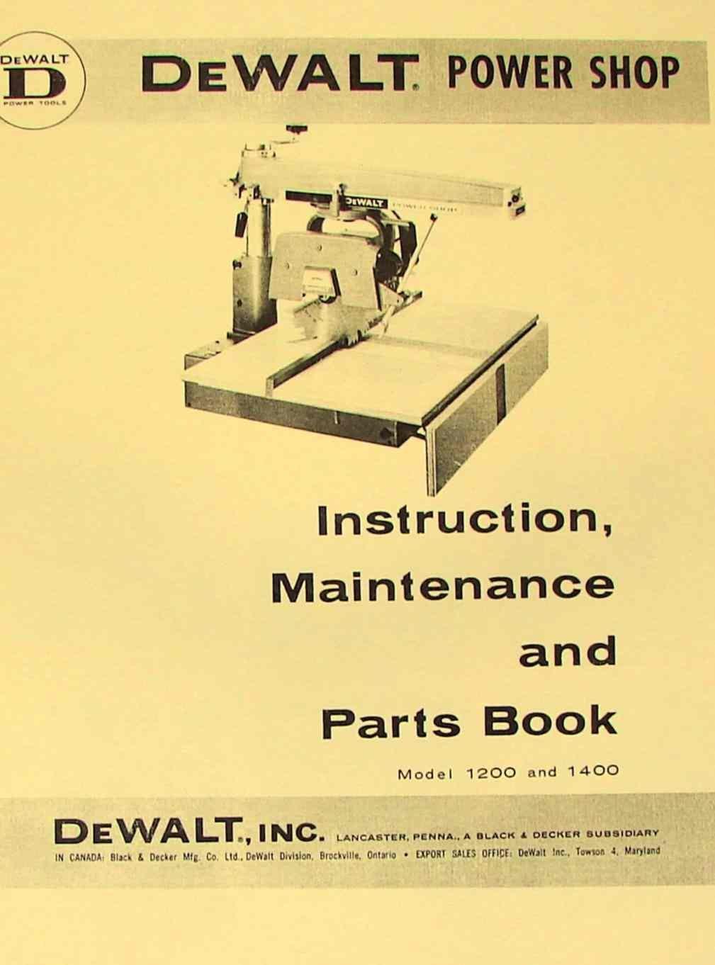 dewalt power shop 1200 & 1400 radial arm saw instructions & parts manual  plastic comb – 1900