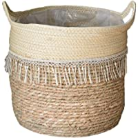 Woven Basket Flower Pot Cotton Rope Plant Basket Storage Organizer with Handles for Planting Home Sundries Clothes Toys…