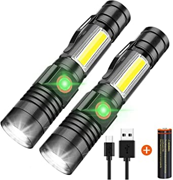 Magnetic LED Torch Super Bright COB Flashlight USB Rechargeable Torches Camping