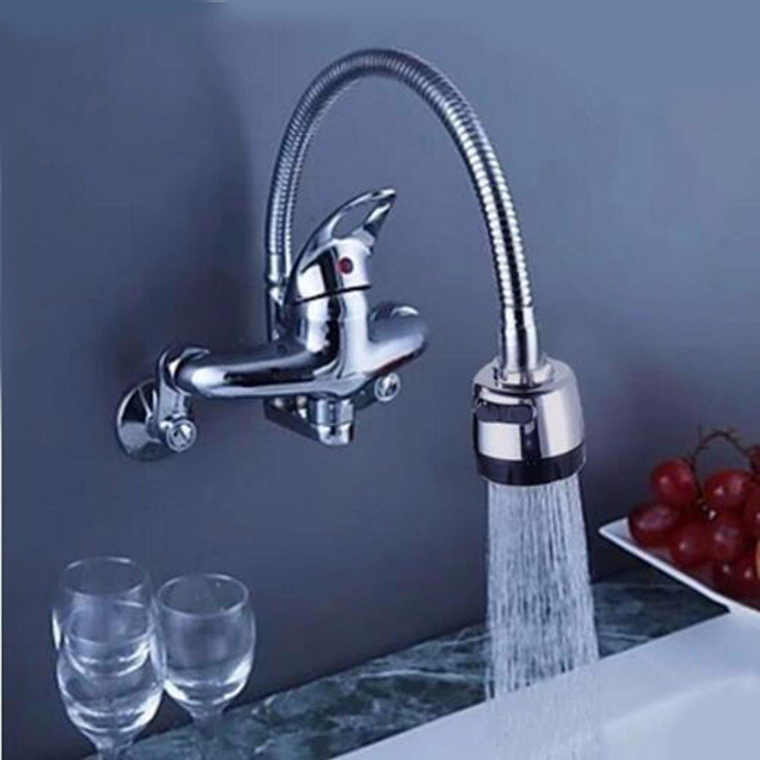 A Hlluya Professional Sink Mixer Tap Kitchen Faucet Mount the wall type water taps full copper hot and cold mixing valve kitchen washing dishes bin balcony laundry pool to the shower,