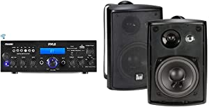 Pyle Bluetooth Stereo Amplifier Receiver & Dual Electronics LU43PB 4 inch 3-Way High Performance Indoor, Outdoor & Bookshelf Studio Monitor Speakers with Swivel Brackets & 100 Watts Peak Power