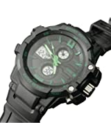Green Mens Watch Sports Multi-Function Analog-Digital Dial Water Resistant